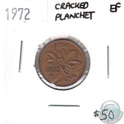 ERROR 1972 Canada 1-cent Cracked Planchet Extra Fine
