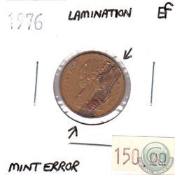 1976 Canada 1-cent Extra Fine (EF-40) Lamination Error