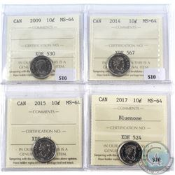 2009-2017 Canada 10-cents ICCS Certified MS-64. 4pcs