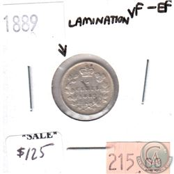 1889 Lamination Error Canada 5-cents VF-EF (VF-30)