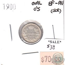 1900 Oval Os Canada 5-cents EF-AU (EF-45) scratched