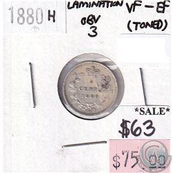 ERROR 1880H Canada 5-cents Lamination Error Obverse 3 VF-EF (toned)