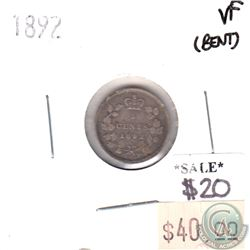1892 Canada 5-cents in Very Fine (VF-20) Condition (bent)