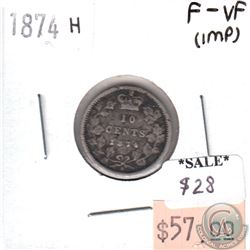 1874H Canada 10-cents F-VF (F-15) impaired