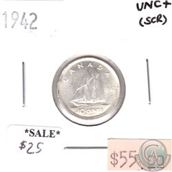 1942 Canada 10-cents Uncirculated+ (scratched)