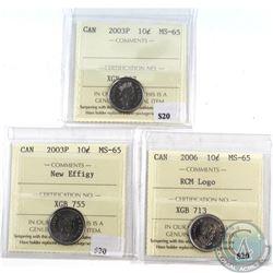 2003P OE, 2003P NE & 2006 Canada 10-cents ICCS Certified MS-65 (3 pcs)