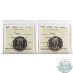 1968-1969 Canada 50-cents ICCS Certified Cameo PL-66 2 pcs