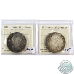 1966 Canada Silver Dollars ICCS Certified LgBeads MS-64. 2pcs