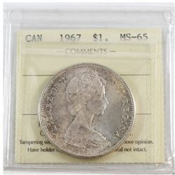 1967 Canada Dollar ICCS Certified MS-65 (toned)