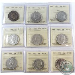 Estate lot of ICCS Certified Canada 50-cents: 1944 Far 4 F-12, 1944 Far 4 F-15, 1945 PVC F-12, 1946