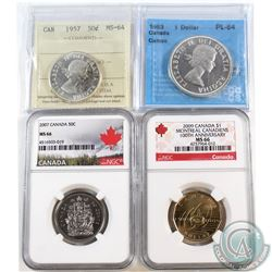 Estate lot Canada 50-cent & Dollar Certified Coins: 1957 ICCS 50-cent MS-64, 2007 50-cent NGC MS-66,
