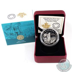 2015 $20 100th Anniversary of In Flanders Fields Fine Silver Coin (TAX Exempt)