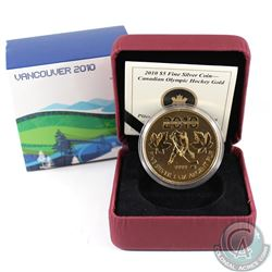 2010 Canada Gold Plated $5 Olympic Commemorative 1 oz. Hockey Silver Maple Leaf (TAX Exempt)
