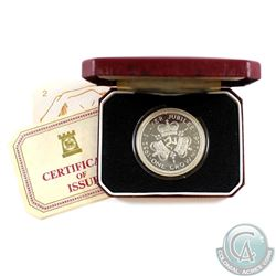 1977 Pobjoy Mint One Crown Silver Jubilee Sterling Silver Proof Coin. Please note the plastic holder