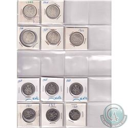 Estate lot of 1965-1976 Canada 50-cents. Dates Include: 1965, 1966, 1968, 1969, 1970, 1971, 1973, 19