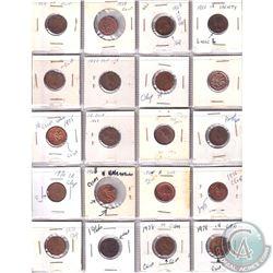 Estate lot of 1950-1978 Minor Errors and Varieties Canada 1-cents. Date range between 1950-1978. 20p
