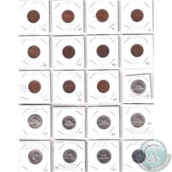 Estate lot of 1939 -2016 Mixed Date Canada 1-cent & 5-cent Minor Errors and Varieties. 1-cent dates