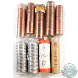 Estate lot of Mixed Canada 1-cent & 25-cent rolls: 1963 1-cent, 1967 1-cent, 1968 1-cent, 1996 1-cen