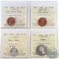 1956-1966 Canada ICCS Certified coins: 1963 1-cent PL-65 Heavy Cameo, 1965 SmBds Blt 5 PL-66 Cameo,