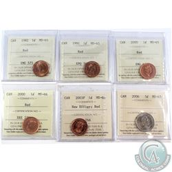 1982-2006 Canada ICCS Certified 1-cent & 5-cent Coins: 1982 1c MS-65, 1991 1c MS-65, 2000 1c MS-65,