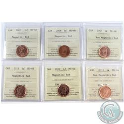 Lot of Canada ICCS Certified 1-cents: 2007 Magnetic, 2008 Magnetic, 2009 Non-Magnetic, 2011 Magnetic