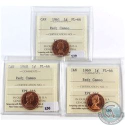 1961, 1968 & 1969 Canada 1-cent ICCS Certified PL-66 Red Cameo. 3pcs
