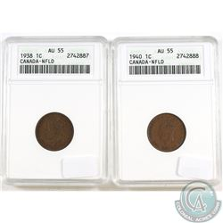 1938 and 1940 NFLD 1-cent ANACS Certified AU-55. 2pcs.