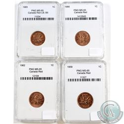 1959, 1962, 1965 LgBds Blt 5, 1966 Canada 1-cent PNG Certified MS-65. Please note holders may have f