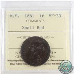 1861 Nova Scotia 1-cent ICCS Certified VF-30 Small Bud