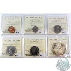Lot of Canada 1-cent to $1 ICCS Certified Coins - 1970 1-cent MS-64 Red, 2006P 10-cent MS-64 NBU, 20