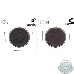 1894 Canada 1-cent Extra Fine (Mark) & 1898H Canada 1-cent EF (cleaned) 2pcs