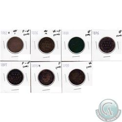 Lot of 1882-1900 Canada 1-cent VG to EF (coins have various impairments). 7pcs