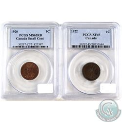 1920 Canada 1-cent PCGS MS-62 Red/Brown & 1922 Canada 1-cent PCGS XF-45. 2pcs