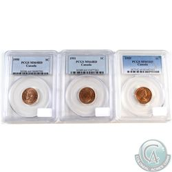 Lot of Canada 1-cent PCGS Certified coins: 1950 Canada MS-64 Red, 1951 MS-64 Red & 1959 MS-65 Red. 3