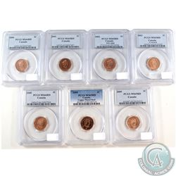 Lot of Canada 1-cent PCGS Certified Coins: 2000 MS-64 red, 2001 MS-65 Red, 2002 MS-65 Red, 2003 MS-6