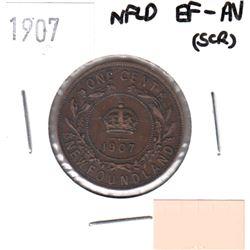 1907 Newfoundland 1-cent EF-AU (some scratches)
