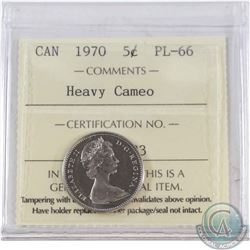 1970 Canada 5-cent ICCS Certified PL-66 Heavy Cameo
