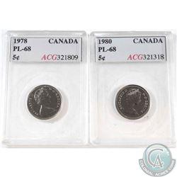 1978 Canada 5-cent ACG Certified PL-68 & 1980 Canada 5-cent ACG Certified PL-68. 2pcs.