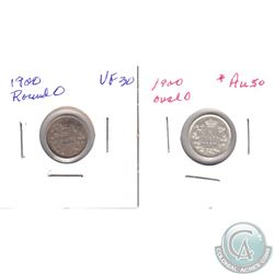 1900 Canada 5-cent Oval AU, 1900 Canada 5-cent Round VF-EF. 2pcs