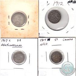 Estate Lot of 4x Newfoundland 5-cent & 10-cent - 1904H 5-cent, 1917C 5-cent, 1912 10-cent & 1917C 10
