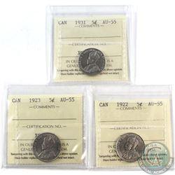5-cent 1922, 1923 & 1931 ICCS Certified AU-55. 3pcs