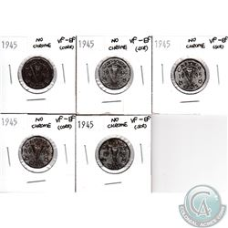 Lot of Canada 1945 No Chrome 5-cent VF-EF (coins are scratched or have corrosion). 5pcs
