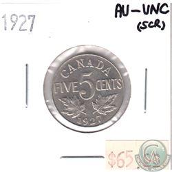 1927 Canada 5-cent AU-UNC (scratched)