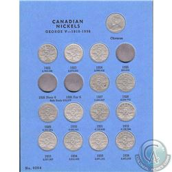 Estate Lot 1922-1960 Canada 5-cent Coin Collection in Vintage Blue Whitman Folder. You will receive
