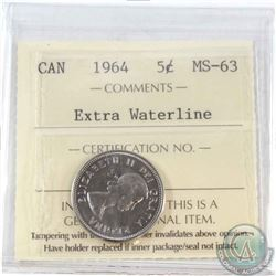 1964 Extra waterline 5-cent ICCS Certified MS-63