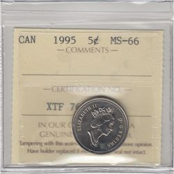 1995 Canada 5-cent ICCS Certified MS-66