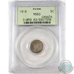 1918 Canada 5-cent PCGS Certified MS-63