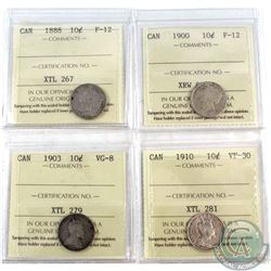1888-1910 Canada 10-cent ICCS Certified coins: 1888 F-12, 1900 F-12, 1903 VG-8 & 1910 VF-30. 4pcs