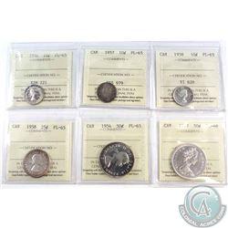 1956-1967 Canada 10-cent,25-cent & 50-cent ICCS Certified Coins: 1956 10c PL-65, 1957 10c PL-65, 195