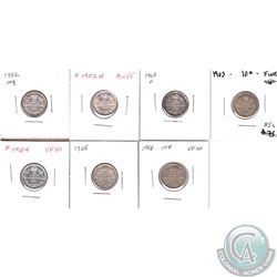 10-cent 1902 F-VF, 1902H AU-UNC, 1903H VF, 1903 Fine, 1904 VF-EF, 1905 VG-F, 1906 VF. 7pcs